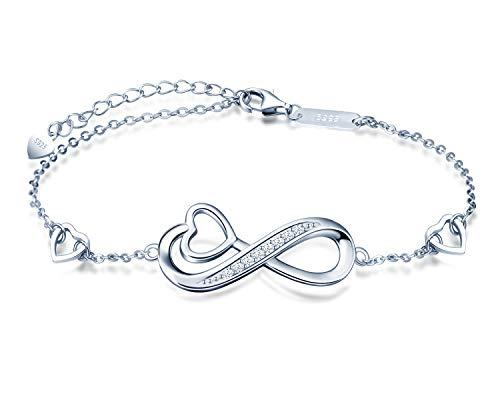 INFINIONLY Pulsera de plata esterlina 925 para mujer, brazalete con símbolo de infinito, ncrustaciones de circonita, plata, Regalos de cumpleaños, Navidad y San Valentín