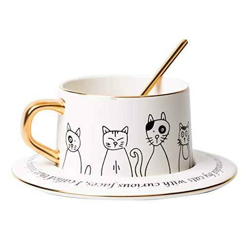 Tazas de espresso Los amantes del gato taza de la taza de café divertida de la novedad de la taza de cerámica for té o chocolate caliente 8.5 Oz con regalos felina dibujos animados de cumpleaños perfe