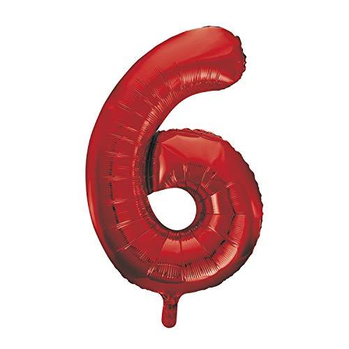 Unique Party- Globo gigante número 6, Color rojo, 86 cm (55856) , color/modelo surtido