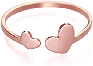 HANFLY 18k Rose Gold Plated Sweet Heart Ring Double Heart Adjustable Ring (6)