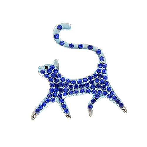 QYTSTORE Rhinestone Gato Broche Gato Broche, tamaño: 4.8 * 4,2 cm, 3 Colores para la joyería Animal de Las Mujeres y Accesorios de Moda Broche Elegante y romántico (Color : Blue)