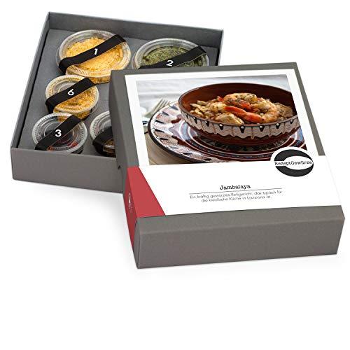 """Gewürze Geschenkset """"Jambalaya"""" – Kreolische Gewürzbox zum selbst Kochen als Geschenk inkl. Kochanleitung und Rezept – mit exotischen und BIO Gewürzen"""