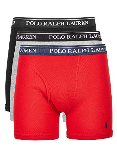 Polo Ralph Lauren Classic Fit w/Wicking 3-Pack Boxer Briefs Andover Heather/Rl2000 Red/Black LG