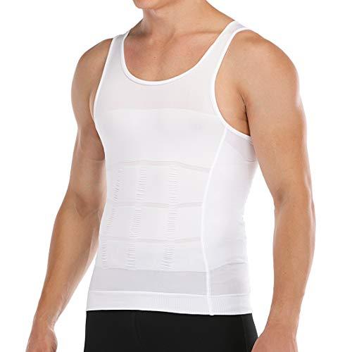 Men's Slimming Body Shaper Vest Abs Abdomen Slim Compression Shirt Elastic Tank Top Undershirt White
