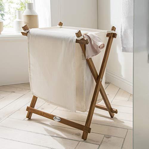 Destiny Wäschebox mit Gestell Badezimmer Wäschetruhe Stoffbeutel Teakholz Design Wäsche Box 41,5 x 32 x 55