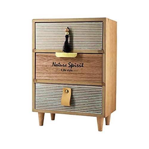 Caja de Madera Almacenamiento Joyero Organizador con Cajón Vintage Mini Mueble para Escritorio, Hogar, Decoracion Caja de Joyeria (Modelo 5)
