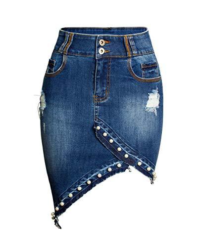 chouyatou Women's Irregular Pearl Raw Hem Bodycon Frayed Holes Pencil Jean Skirt (Medium, Blue)