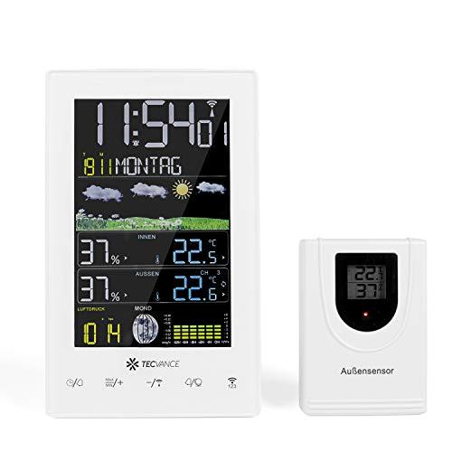 Tecvance Funkwetterstation mit Farbdisplay und Außensensor Innen- und Außentemperaturanzeige Inkl. Batterie und Netzteil - vertikal, weiß