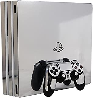 Silver Chrome Mirror Vinyl Decal Faceplate Mod Kit for Sony PlayStation 4 Pro Console by System Skins