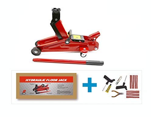 Semaphore Hydraulic Trolley Service/Floor Jack 2 Ton in Strong Carton Box & Tubeless Tyre Puncture Repair Kit for all Cars, Mini SUV's & MPVs