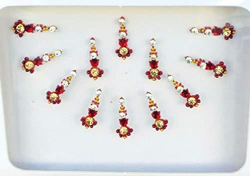 BB156 Red Bindi Goldkristallperlen Perlenstickerei Bindi Tattoo Stirn Aufkleber Hochzeit Tikka indische Fantasie-Partei-arabisches Gesicht Gem Körperkunst