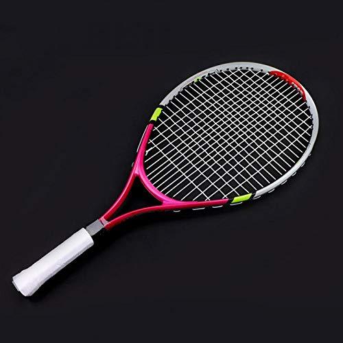 DAUERHAFT Raqueta de Tenis Individual de Cuerda Duradera de 3 Colores, Ligera y Duradera, Raqueta de Entrenamiento de Tenis, para práctica de Entrenamiento de niños(Rosa roja)