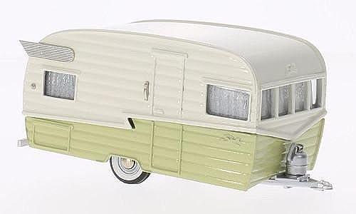 Wohnwagen Airflyte Travel Trailer, beige hellGrün, 1958, Modellauto, Fertigmodell, Brooklin 1 43