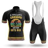 A Cycling Grandpa Never Gets Old Cycling Sets Bike Uniform Summer Cycling Jersey Set Road Bicycle Jerseys MTB Breathable Cycling Clothing (Sets,XL)