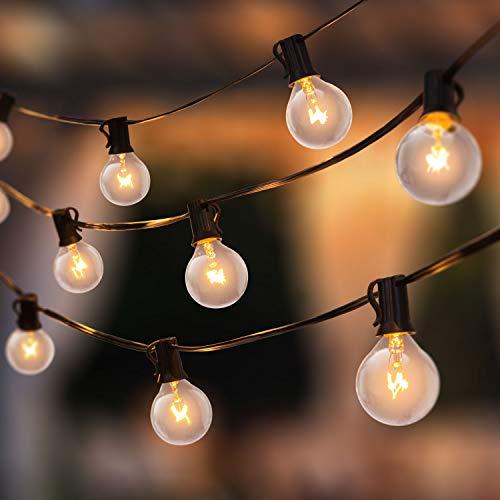 AVAFORT Outdoor String Light for Patio, Garden, G40 1W Clear Glass Bulbs, Weatherproof (100 Feet)