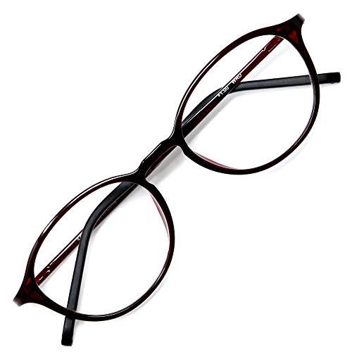 アイウェアエア 老眼鏡 おしゃれ レディース メンズ ブルーライトカット 35% +0.5〜+3.5 4色 ボストン ワイン +1.50