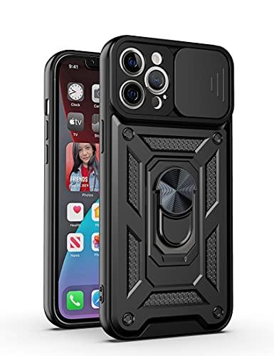 LOCLOUD Funda para iPhone 12 Pro MAX, Protección de la Cámara Carcasa con Cubierta de Cámara Deslizante y Soporte de Anill PC Dura y TPU Silicone Anti-Choque Anti-arañazos Case – Negro