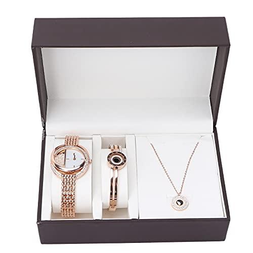 Reloj de regalo de joyería, aleación Lujoso estilo empresarial Práctico 2 colores disponibles Juego de joyas para mujer para aniversario Regalo de cumpleaños para accesorio diario.(Oro rosa)
