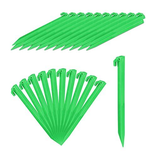Relaxdays Heringe, 32er Set, leichte Zeltheringe, weiche & sandige Böden, 31 cm lang, Kunststoff, Bodenanker, grün