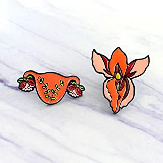 2-Set of Metal Female Genital Reproductive System Anatomy Brooch White Coat Pins Gift for Doctors