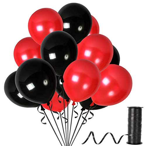 Cherry Red Black Latex Balloons Garland 100 Pack 12 Inch Thick Balloons for Birthday Baby Shower Party Casino Poker Party Decorations