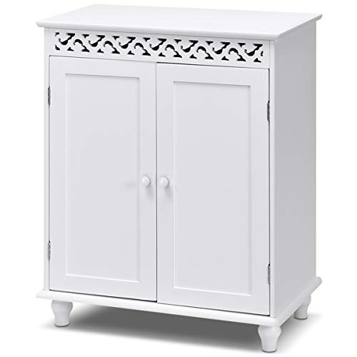 GLACER Bathroom Floor Cabinet, Freestanding Bathroom Storage Cabinet with Double Doors, Suitable for Bathroom, Living Room, Bedroom, Hotels, 24 x 13.5 x 30.5 inches (White)