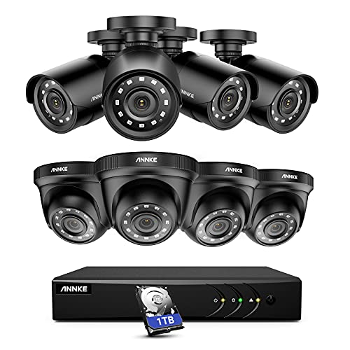 ANNKE 8CH Home Security System 5MP Lite DVR Recorder with 1TB HDD and (8) 1080p IP66 Weatherproof Camera with Super Night Vision, Motion Detection, Easy Plug & Play, HDMI Output - E200