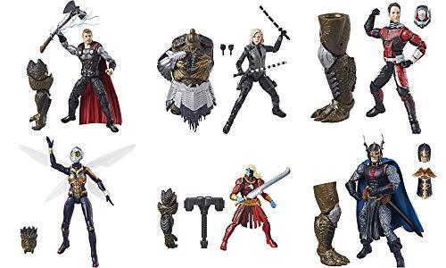 Marvel Avengers Legends Series Juego Completo de 6 Pulgadas Thor, Black Widow, Black Knight, Malekith, Ant Man y Wasp para Obsidiana Cull