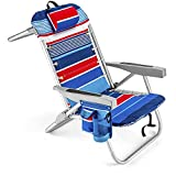 Homevative Folding Backpack Beach Chair with 5 Positions, Towel bar, Cooler Pouch, Storage Pouch, Cup Holder and Phone Holder (Fireworks - 1 Chair)
