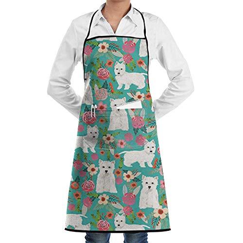 Einstellbare LatzApron mit Tasche, Westie Florals Cute Dog Apron for Women and Men Adjustable Neck Strap Restaurant Home Kitchen Apron Bib for Cooking, Grill and Baking, Crafting, Gardening, BBQ