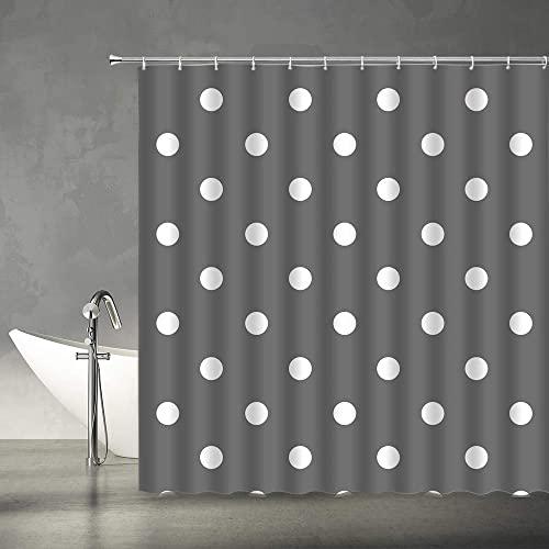 lovedomi Gepunkteter Duschvorhang Vintage Gekritzelt Polka Dots Mode Badezimmer Gardinen Dekor Polyester Stoff Set inkl. Haken, dunkelgrau weiß 152 x 183 cm