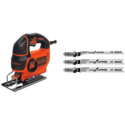 BLACK+DECKER Jig Saw, Smart Select, 5.0-Amp (BDEJS600C) & Bosch T503 3-Piece Hardwood/Laminate Flooring T-Shank Jig Saw Blade Set