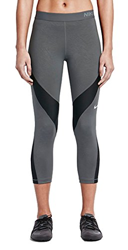 Nike Pro Hypercool Palm Capri Damen Tights XS Grau/Schwarz/Weiß (Dark Grey/Black/Black/White)