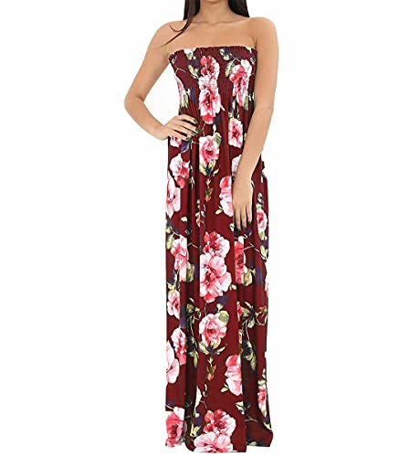 TrendyFashion Vestido largo de verano para mujer, estampado bandeau sin tirantes, sin tirantes, vestido largo de verano de 8 a 22, Flor de vino, 36-38