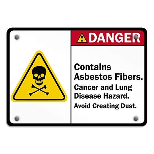 Asbest Kanker & Lung Ziekte Gevaar Vermijd Het creëren van Stof Aluminium Weerbestendige Metalen Teken Horizontale Straat Tekenen 20 x 30 Metalen Decor Metalen Tin Tekenen Outdoor Teken Verjaardag Gift Grappig Teken Muur Art Decoratieve