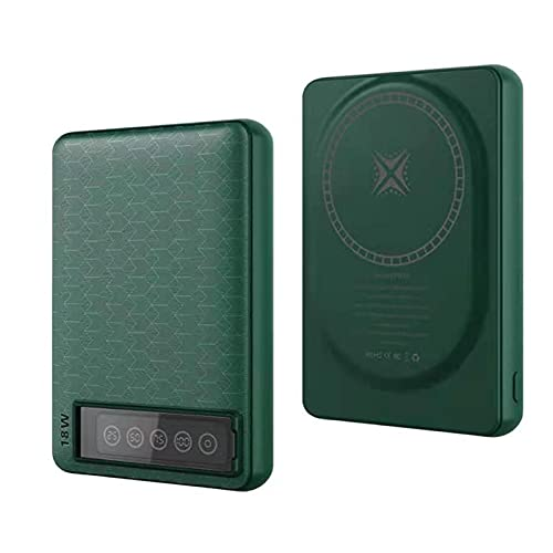 SUYING Banco de energía magnético inalámbrico de 15 W para cargador de energía móvil Magsafe, apto para Iphone12 12mini 12pro Max batería externa de imán de carga rápida (verde)