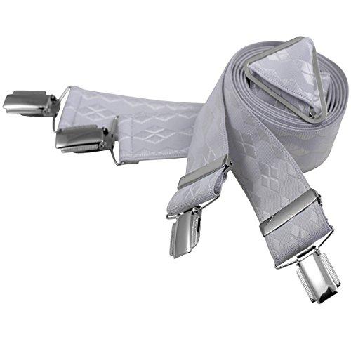 Lindenmann Mens Braces/Suspenders/mens suspenders, X-shape, 35 mm stetch, XXL, white, 7466-070, Größe/Size:110