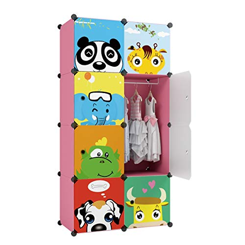 KOUSI Kid Clothes Storage Organizer Kid Closet Baby Clothes Storage Cabinet for Kids Room Baby Wardrobe Toddler Closet Childrens Dresser(Blue, 8 Cubes&2 Hanging Sections)