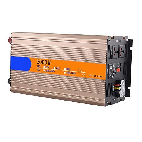 JHHXW 3000W Wechselrichter, DC12V / 24V / 48V -AC110V / 220V reinen Sinus-Wellen High-Power-Solar Car-Spannungswandler, Spannungsanzeige, 2 Steckdosen, 1 USB-Anschluss