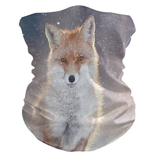 XIXIKO Tier-Halstuch mit rotem Fuchs, Winter, Wald, Gesichtsschutz, Staub, UV-Schutz, Multifunktional, Schal für Damen und Herren, Outdoor, Sport, Wandern