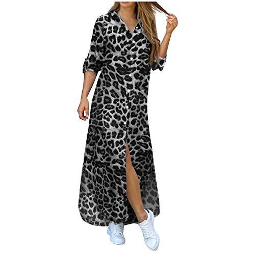 Snakell Vestido Larga Camisero Mujer, Largo Kimono Bohemio Camisón Maxi Vestido de Playa para Mujer, Mini...