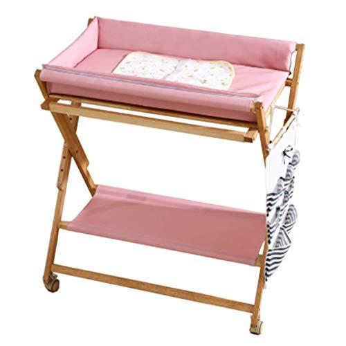 Sécurité Le bébé rose changeant se pliant de Tableau de couche-culotte, station de bain nouveau-né for le petit espace, commode portative 0-2 ans bambin, station de massage for le voyage de ménage Mei