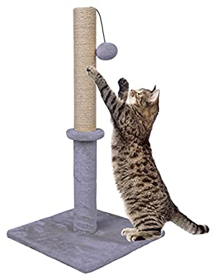 """Dimaka 29"""" Tall Cat Scratching Post, Sisal Rope Scratcher Tree Covered with Soft Smooth Plush, Vertical Scratch, Modern Design 29 Inches Height (Light Grey)"""