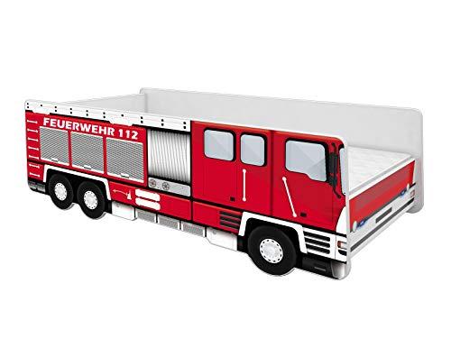 ACMA Kinderbett Auto-Bett Feuerwehr mit Rausfallschutz, Lattenrost und Matratze (160x80)