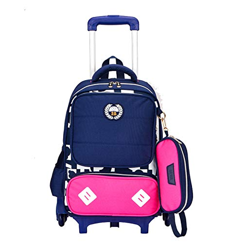 LHY EQUIPMENT Children's Trolley Backpack, Safety Reflective Design Trolley Rolling Bag Multi-Compartment Large Capacity Waterproof Wheeled Backpack Can Climb Stairs,rose pink