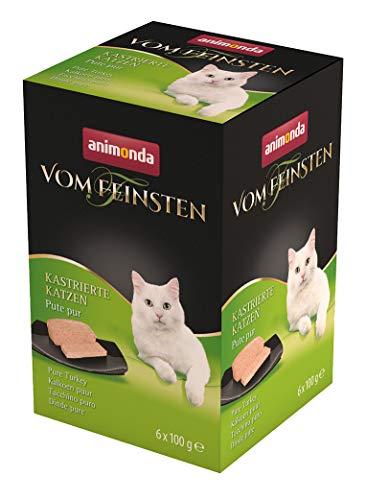 animonda Vom Feinsten Adult Katzenfutter, Nassfutter für ausgewachsene Katzen,  kastrierte Katze  Pute pur, 6 x 100 g