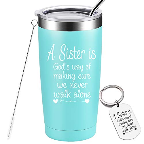 Sisters Gifts from Sister, Christmas Birthday Gifts for Sister, Best Friend, Little Sister, Soul Sister, Graduation Gifts for Women, Stainless Steel Insulated Tumbler, 20 Ounce Mint