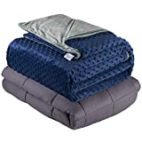 Quility Weighted Blanket for Adults - Queen Size, 60'x80', 20 lbs - Heavy Heating Blankets for Restlessness - Grey, Navy Cover