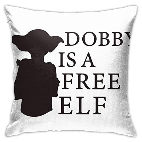 Holzkary Fundas de Almohada Dobby is A Free Elf Decorative Fundas de Almohada de 45x45cm de Cremallera Oculta para sofá de Dormitorio en casa