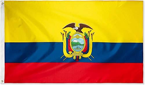 Ericraft Bandera ecuatoriana Grande 90x150cms Bandera de Ecuador de balcón para Exterior Reforzada y con 2 Ojales...